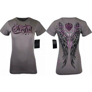 SINFUL by AFFLICTION Women's CA T-Shirt FINCH SS